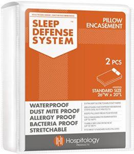 Le système de défense Original Sleep–étanche/punaises de lit/acariens Proof–Premium Zippered Taie d'oreiller anti-acariens et protection hypoallergénique, Lot de 2