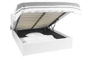 Lit Coffre | Luna Ottoman | Blanc | 140×190 | 665 litres d'espace de stockage | Tête de lit detachable