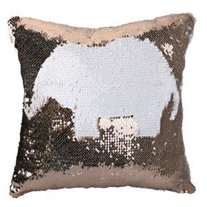 Luxbon Taie d'oreiller Satin deux couleurs Paillettes Réversible Sequin Lit de Couverture Housse de Coussin Cadeau de Noël 40×40 cm Champagne + Blanc