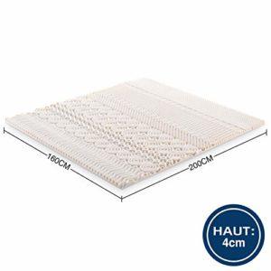 Noffa Surmatelas en mousse à mémoire de forme 10 zones pour lit king size 160 x 200 x 4 cm