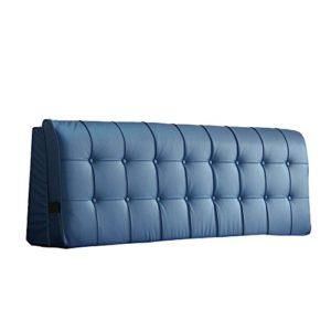 Oreiller de haute qualité — Lit double peut démolition laver couleur unie tissu chevet soft package mur dossier coussins de chevet — description de référence avant achat ( Couleur : Bleu , taille : 203*55cm )