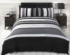Signature rayures adultes ados Parure de lit avec housse de couette et 2taie d'oreiller Parure de lit, double, gris