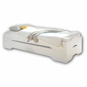 Stella Trading Double lit Double élégant avec Deux Surfaces de Couchage 90 x 200 cm – Lit empilable Confortable en pin Massif – Blanc – 96 x 47 x 205 cm (l/h/p)
