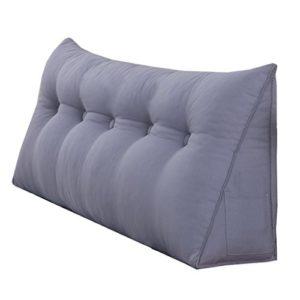 uus Grand oreiller de triangle de lit double / coussin avec la couverture démontable, dans le chevet / sofa / bureau / à la maison / voiture qui peut être utilisé pour lombaire / dossier / oreiller de lecture, gris ( taille : 200*50*20cm )