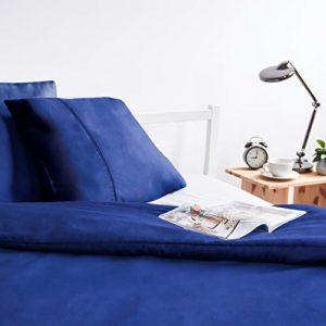 Viscosoft Housse de Couette en Microfibre avec Finition Venise (Bleu Marine, 140_x_200_cm) + une taie d'oreiller