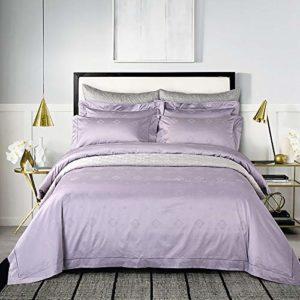 YIEBAI, Housses de couette 100S Jacquard haute densité 4pcs Ensembles de literie douillette 100% coton Ensemble de linge de lit Grand ensemble de lit double king size, violet clair, grande taille