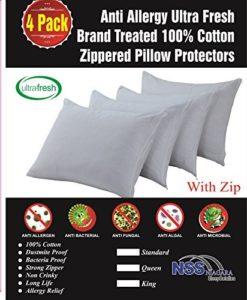 100% coton ultra Fresh traité Lot Lot de 4respirante zippée acariens anti-allergies Taies d'oreiller protecteurs Lit1anti-microbes pour rétention Barrière lavable en tissu non bruyant