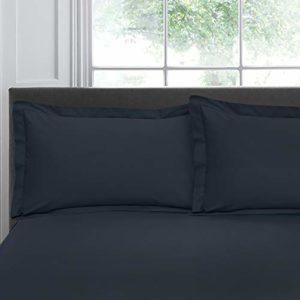 Appletree Lot de 2 taies d'oreiller en Tissu Oxford 200 Fils 100% Coton Bleu Marine 50 x 75 cm