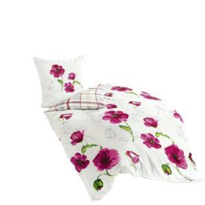 Bierbaum 6404_01 Dessin Parure de lit en Satin de Coton mako Rose (01), Satin mako, Multicolore, 155 cm x 220 cm