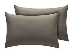 Chaque fil compte drap-housse en polycoton de qualité supérieure, facile d'entretien., gris, Pair Of Standard Pillow Cases
