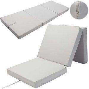 Detex Matelas Pliant de Voyage Confort Matelas d'appoint Pliable Lit futon Pouf Pliant avec Housse 190x70x10 cm Gris