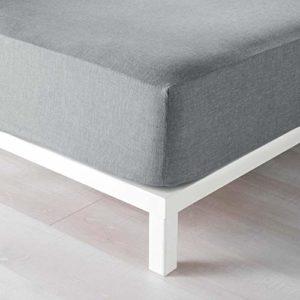 douceur d'intérieur drap housse 2 personnes 140×190 cm polycoton actually gris