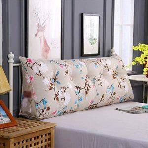 Duveteux et Doux décoratif Coussin taies d'oreille Non Chevet Sac Souple Tatami Triangle Coussin Impression Toile Double Long Coussin Simple Warm Coussin Sofa (Color : D, Size : 120x50x20cm)