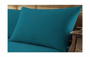Gaveno Cavailia Paire de taies d'oreiller en Flanelle de Coton brossé 100% Flanelle Facile d'entretien Bleu Sarcelle 50 x 75 cm 50 x 75 cm