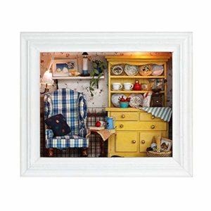 Hinzonek Mini Maison de Poupée Artisanat Ornement Suspendu Cadre Photo Cadeaux d'anniversaire Décoration Murale pour Salon Chambre