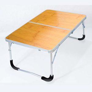 HUSTLE Pupitre Enfant Table D'ordinateur Portable de lit Portable en Alliage D'aluminium Table Pliante Paresseuse Enfants Bureau Petite Table à Manger Jaune 62cm*42cm*27.5cm