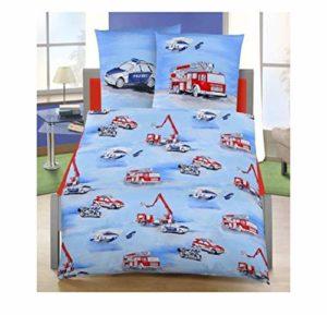 Ido Dobnig – Parure de lit pour enfant en flanelle – 2pièces– Motifs voiture de police/pompiers – Dimensions de 80x 80+ 135x 200cm – Fabriqué en Allemagne