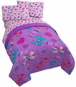 Jay Franco Parure de lit double 4 pièces (produit officiel Nickelodeon) Violet/JoJo Siwa