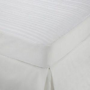 Martex Damas à Rayures Matelas Pad Twin X-Large Blanc