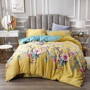 Parure de lit 12 pièces en coton égyptien soyeux Motif oiseaux et fleurs