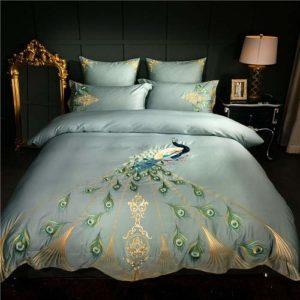 Parure de lit en coton égyptien 600 fils avec motif paon, taille Queen size 4 pièces
