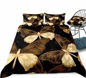 Poulbee Parure de lit douce et confortable Motif papillons Convient pour printemps, été, automne et hiver (220 x 230 + 50 x 75 cm)