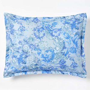 Robert Graham Home Carnet de Croquis 400 Fils Percale Italienne tissé avec taie d'oreiller Extra Fine en Coton agrafé King Bleu Iris