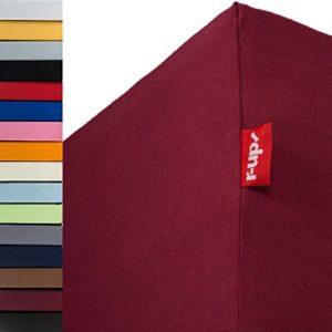 R-up Drap-housse 200 x 220-220 x 240 à 35 cm – Plusieurs couleurs 95 % coton, 5 % élasthanne 230 g/m² – sans stress même pour les lits à eau, Rouge bordeaux, Doppelpack 200×220-220×240