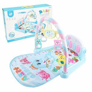 Shanxia Tapis de jeu pour bébé avec pédale, piano, fitness, jouets suspendus, tapis de découverte pour nouveau-né Bleu