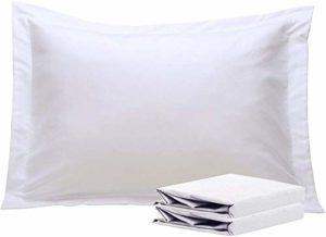 Sheetspa Lot de 2 taies d'oreiller en coton égyptien 1500 fils 100 % coton égyptien à long agrafes de qualité hôtelière Blanc de qualité supérieure King size 50 cm x 90 cm + cadre de 5 cm