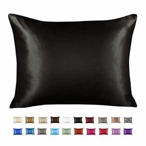 ShopBedding taie d'oreiller en satin luxueux pour cheveux – Taie d'oreiller en satin standard avec fermeture éclair, imprimé zèbre marron (lot de 2) – Blissford Standard (1-pack) noir