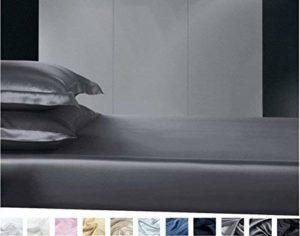 Silkmood Draphousse en soie drap housse soie 100% 22momme 200x200cm, Bleu marine