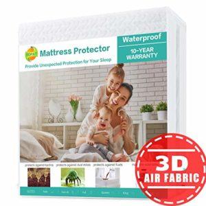 SOPAT Protège-Matelas 100% imperméable en Tissu Air 3D, Respirant, Lisse et Doux Twin Blanc