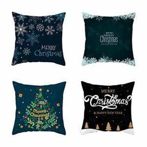Taie d'oreiller de Noël 4 pièces, taie d'oreiller en Velours de Peau de pêche, Housse de Coussin de canapé rectangulaire pour la faveur de Noël à la Maison (18 X 18 Pouces)-Style: 4