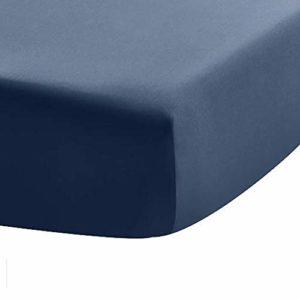 UMI Drap Housse élastique 100% Coton, à Grande Hauteur de Bonnet, pour Matelas Mousse à Profil Haut et Bas, 400Fils/cm², Indigo Batik, 180×200 cm