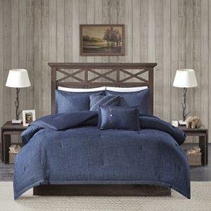 Woolrich Parure de lit Chaude en Duvet et Couvre-lit Assortis, Coton, Bleu, Twin XL