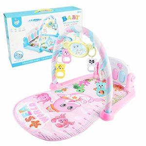 Youjinsh Tapis de jeu pour bébé avec pédale de musique, piano, fitness, jouet à suspendre, tapis éducatif (Rose1)