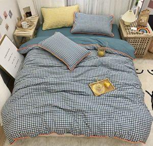 YWYU Coton Pur Coton délavé Garniture Insert Vérifier 1,5 1,8 lit Double Set de Quatre pièces Peut être personnalisé Drap de lit (Color : 2, Size : Queen Size 4pcs)