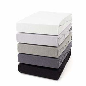 Zestri Basic Jersey Lit à sommier tapissier, Coton, Noir , 180×200 cm – Comfort160 g/m²