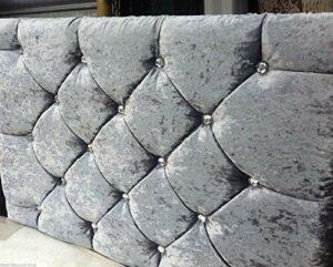 Elegant Beds Tête de lit en velours avec diamants de grande qualité hauteur 51cm, Velours, Silver, 79,4 cm (Small 1 place)