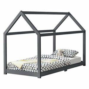 [en.casa] Lit Cabane Design Lit d'enfant de Forme Maison Stylé Sommier à Lattes Lit Simple Pin 90 x 200 cm Gris Foncé Mat Laqué