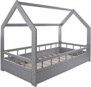 Jeux lit lit lit d'enfant maison aventure lit double avec des dispositifs de protection contre les chutes,Grey