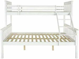 Le niveau de mobilier de chambre moderne de style superposé cadre de lit de lit en bois,White