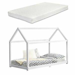 Lit Cabane Design Lit d'enfant de Forme Maison Stylé Sommier à Lattes Lit Simple avec Matelas Mousse à Froid Pin 90 x 200 cm Blanc Mat Laqué