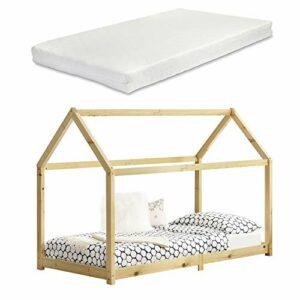 Lit Cabane Design Lit d'enfant de Forme Maison Stylé Sommier à Lattes Lit Simple avec Matelas Mousse à Froid Pin 90 x 200 cm Bois Naturel