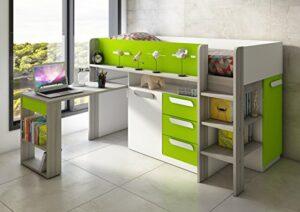 Lit combiné Beau avec bureau – vert