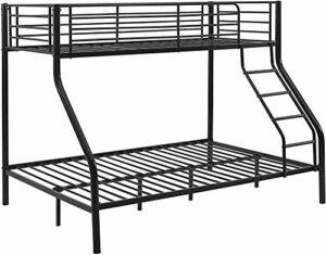 Meubles de cadre de lit superposé en métal chambre lits en métal 210cmx147,5cmx168cm,Black