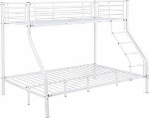Meubles de cadre de lit superposé en métal chambre lits en métal 210cmx147,5cmx168cm,White