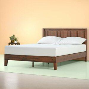 Zinus Lit de luxe en bois à plateforme avec tête de lit Vivek 30,5 cm/ Lits Plateforme/ Pas besoin de sommier/ Soutien solide avec lattes en bois/ Montage facile/ 90 x 190 cm