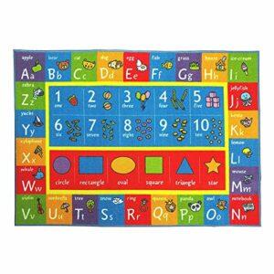 DrafTor Tapis de jeu pour enfants, collection Playtime ABC, chiffres et formes, tapis éducatif 150 x 78 cm, idéal pour jouer avec des voitures pour chambre à coucher, salle de jeux (graphiques)